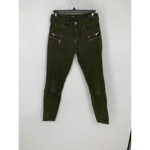 Zara 2 slim fit green zipper jeans